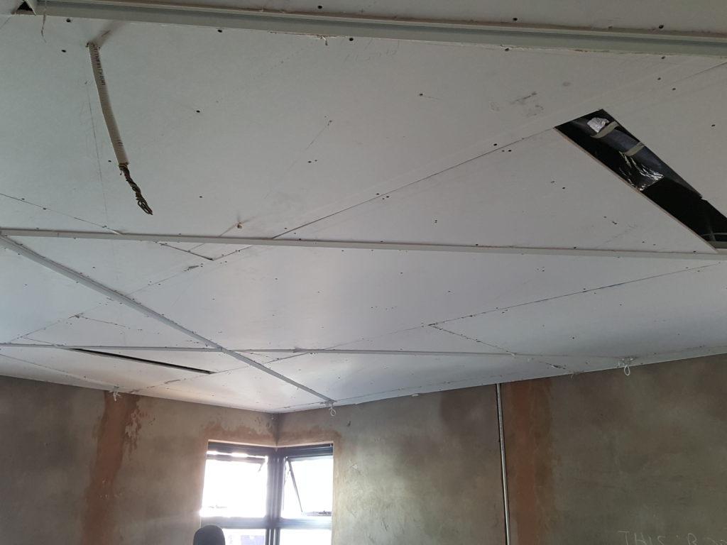 Strip light designed ceiling feature